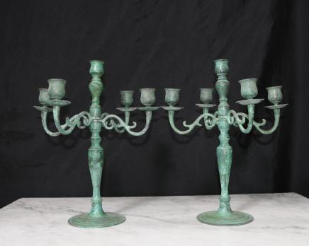 Pair Victorian Bronze Candlesticks Candelabras