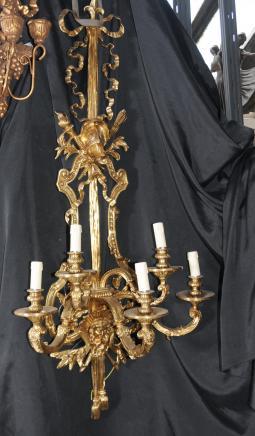Paire d'architecture Empire français Appliques en bronze doré au mercure