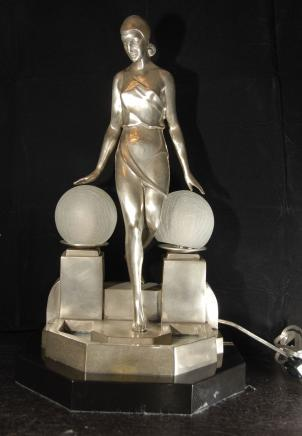 Silver Bronze Deco Biba Lamp Light Figurine Statue