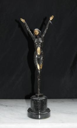 Bronze Art Deco Dancer Figurine French Statue 1920s