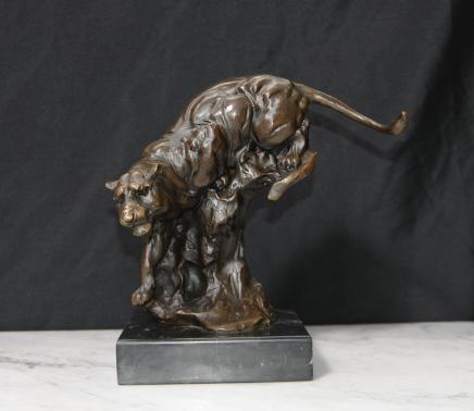 Bronze Casting Panther Cat Leopard Signed Milo Statue Casting