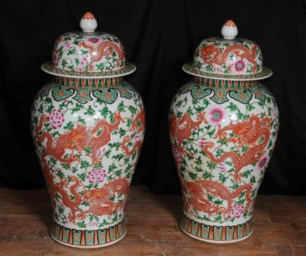 Chinese Qianlong Porcelain Lidded Dragon Vases Urns Pottery Ginger Jars