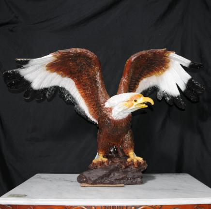 Coloured Bronze American Golden Eagle Bird Prey Statue Us Art Casting