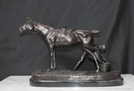 English Bronze Casting Horse Blacksmith Rustic Scene