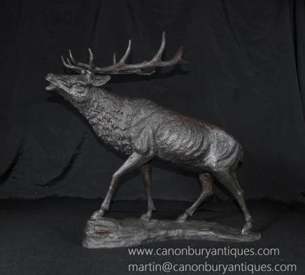 French Bronze Stag Statue Moose Caribou Deer Animals Casting