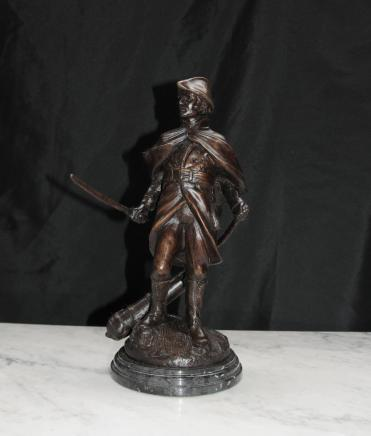 French Bronze Statue Soldier Military Casting