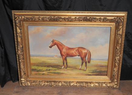 French Oil Painting Horse Pastoral Landscape Gilt Frame
