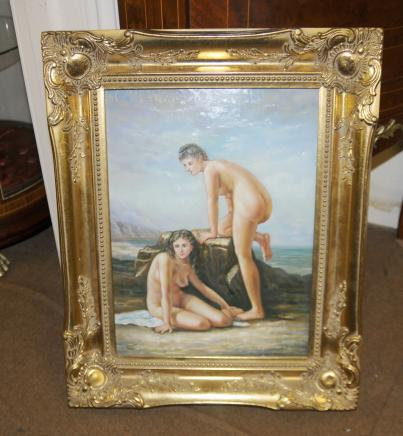 French Oil Painting Naked Female Portrait Nymph Gilt Frame