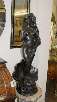 Italian Rococo Bronze Siren Female Figurine Fountain Nude Statue