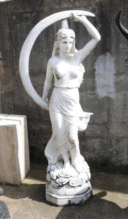 Large Italian Marble Carved Maiden Roman Luna