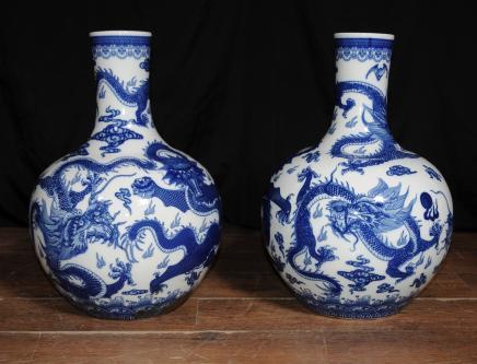Pair Bulbous Porcelain Vases Chinese Nanking Blue White China
