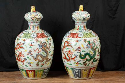 Pair Chinese Qianlong Porcelain Vases Urns Jars Pottery Ceramic