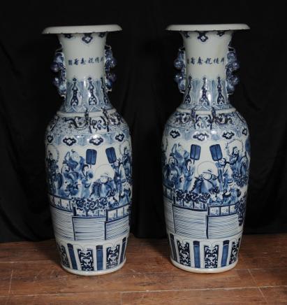 Pair Chinese Qing Porcelain Ceramic Vases Urns