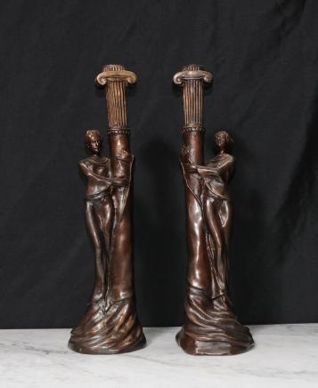 Pair French Art Nouveau Bronze Candle Sticks Candelabras
