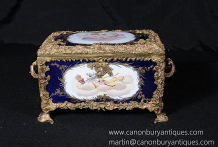 Porcelain Ormolu Cherub Jewellery Box Case Casket Russian