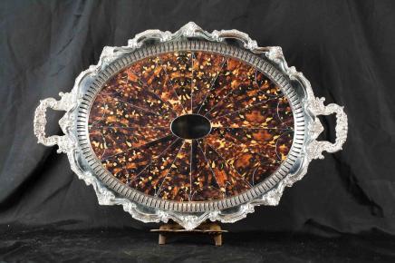 Sheffield Silver Plate Tray Platter Faux Tortoiseshell