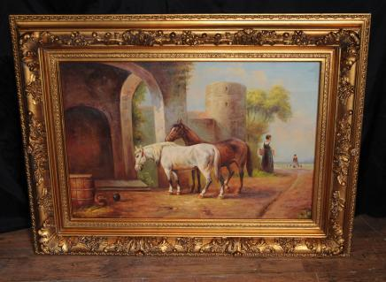 Signed Victorian Oil Painting Horse Equestrian Scene Gilt Frame
