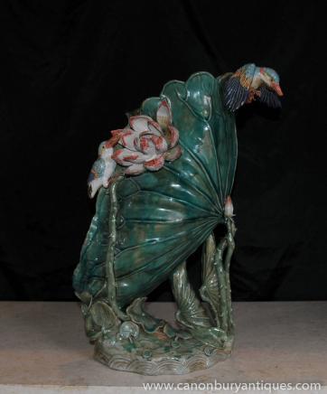 Anglais poterie Majolica Vase en porcelaine Oiseau Kingfisher