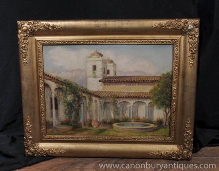 Antique Peinture espagnole d'huile Grenade mauresque cour Signé Alberto