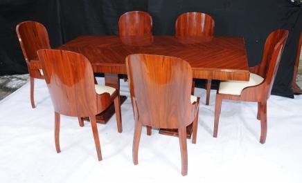 Art Deco Set à manger en palissandre Table et président Suite