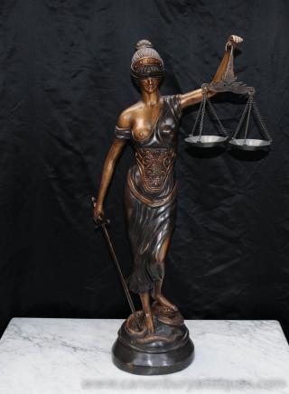 Bronze Castings Lady Justice Statue Figurine aveugle déesse romaine Themis