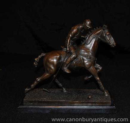 Bronze Polo Statue Figurine Cheval Jockey Lecteur casting