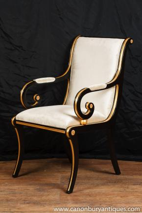 Empire français Noir Laque Fauteil Seat Arm Chair