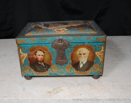 English Antique Tin Co-Operative Box Jewellery Trinket Case