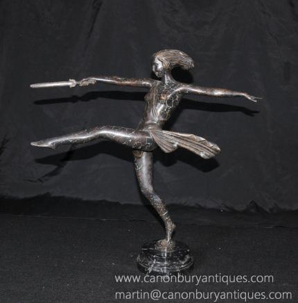 Français Art Deco Bronze épée Danseur Fille Figurine