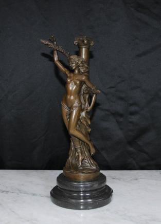Français Bronze Castings Jeanne d'Arc Nu Statue Figurine Femme