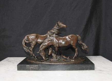 Français Cheval de Bronze et poney Statue Animaux Mene