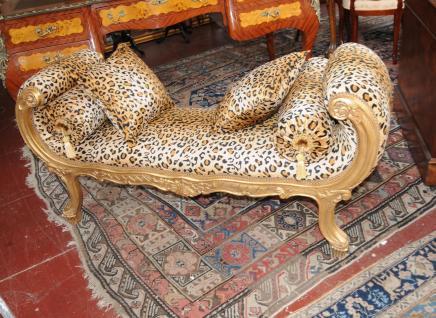 Français Louis XV Canapé-lit Chaise Lounge Cheetah Print