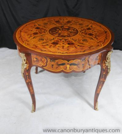 Français ronde Rococo Centre Empire Dining Table Tables Marqueterie Inlay