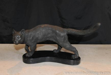 French Bronze Cat Statue Casting Marble Base