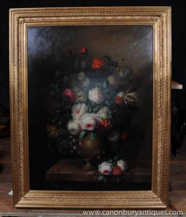 Grand Victorian Painting Oil Floral Still Gilt Frame vie
