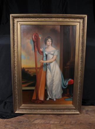 Huile italienne Peinture Portrait Harpiste Femme Signé Beccaria Art