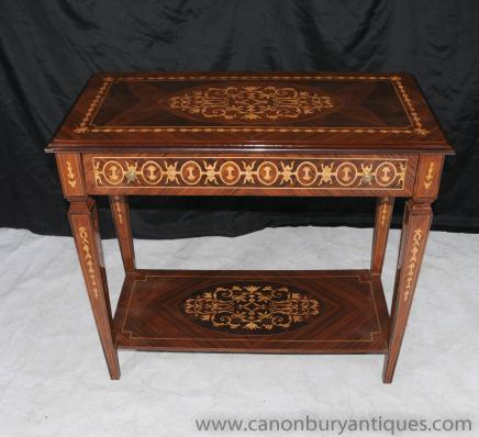 Italian Marquetry Inlay Console Table Neo Classical Tables