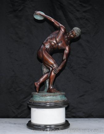 Italienne Bronze Discus Thrower Statue romaine classique athlète