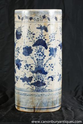 Nankin Umbrella stand Poterie Poterie Vase Bleu Blanc Chinois