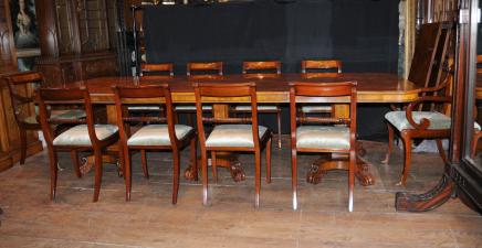 Noyer Regency à manger Set Guéridon Matching 12 Chairs