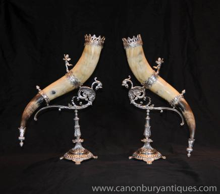 Pair Antique French Silver Plate Horn Vases Cherub Stands