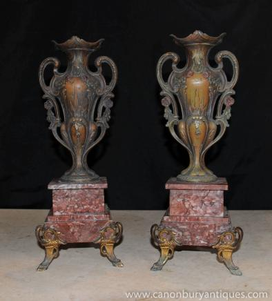 Pair French Louis XV Bronze Urns Vases Marble Pedestal Base