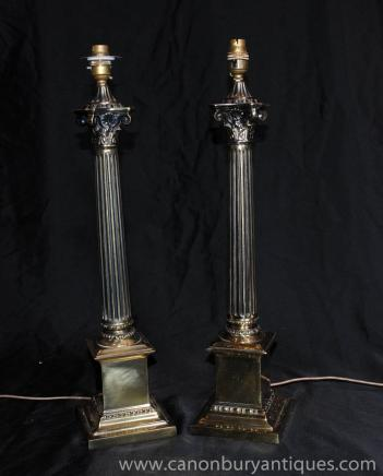 Pair Italian Ormolu Corinthian Column Table Lamps Lights
