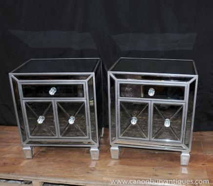 Pair Mirrored Bedside Chests Tables Deco Nightstands Mirror