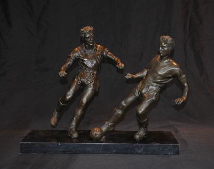 Paire Français joueurs de football de football Bronze Art Sport