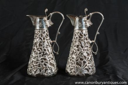 Paire Sheffield Nouveau argent Carafes Carafes Vases plaques