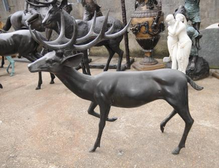 Paire XL Architectural Bronze Deer Stags Jardin Animaux Art