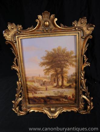 Provence française peinture à l'huile paysage Cadre rustique Rococo
