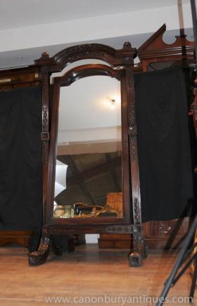 Sculpté à la main Antique Mahogany française Cheval Mirror Miroirs