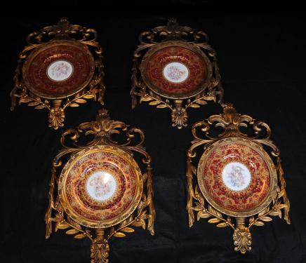 Set 4 françaises porcelaine de Sèvres Cherub Plaques Murales Plaques